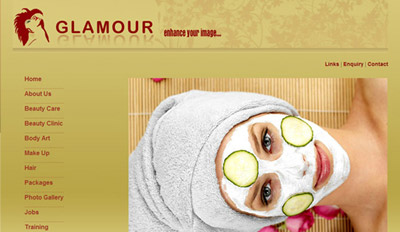Website for Glamour Beauty Parlour