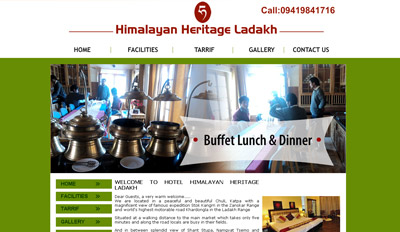 Website for Hotel Himalayan Heritage