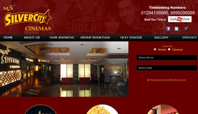 Website for MSX Silvercity Cinemas